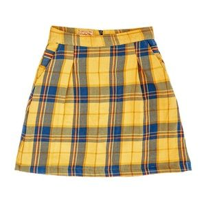 Kiel James Patrick darling skirt yellow blue plaid